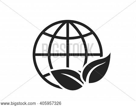 Environment Icon. Environmental And Eco Symbol. Leaf And Globe Earth Vector Image