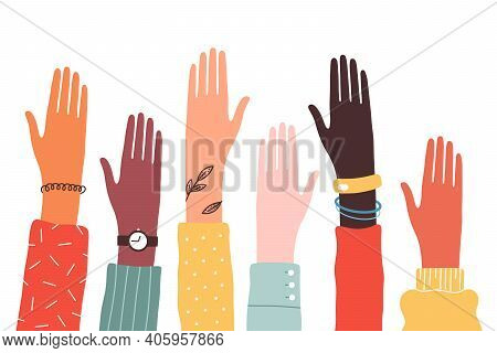 Hands Of Diverse Group Of People Together Raised Up. Concept Of Support And Cooperation, Girl Power,