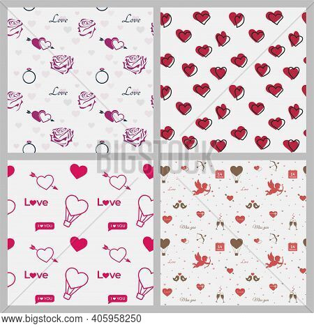 Love Romantic Seamless Pattern Set. Roses, Hearts, Cupids And Love Symbols. Valentines Day Red Color