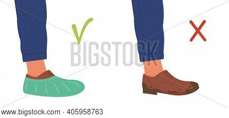 Disposable Shoes Covers On Boot And Dirty Muddy Shoe. Notice For Clinic Or Hospital. Banner Or Poste
