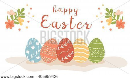 Festive Greeting Card Template With Happy Easter Inscription, Blossom And Blooming Flowers. Decorate