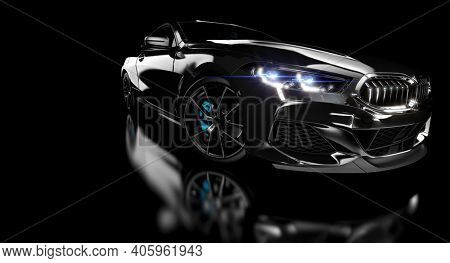 black luxury sports car on dark background. 3d render.