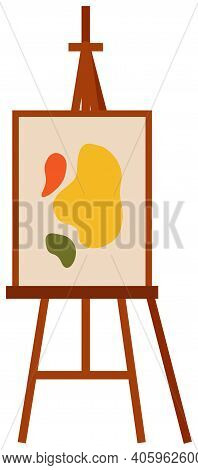 Easel With Abstract Picture On A White Isolated Background. Canvas With Stand For A Young Artist Vec