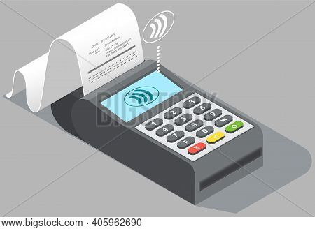 Payment Terminal With Check For Retail Sale Service On Gray Background Isolated Vector Illustration.