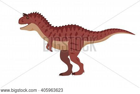 Carnotaurus Dinosaur. Vector Illustration Of A Prehistoric Dinosaur Carnotaurus Isolated On A White