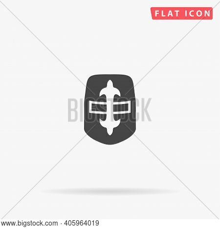 Crusader Helmet Flat Vector Icon. Hand Drawn Style Design Illustrations.