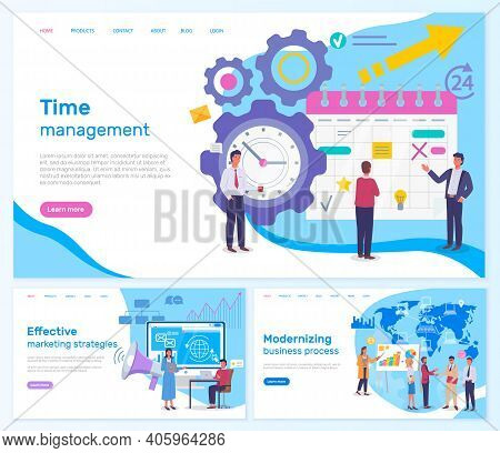 Strategic Planning And Time Management Business Concept Webpage Set. Modern Planning Innovations Lan