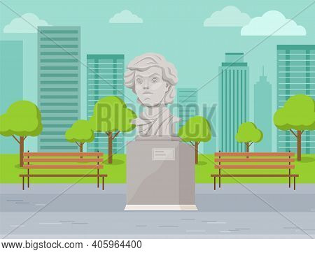 Concrete Monument In The City Park, Bust Of The Commander. Historical And Cultural Attraction. The H