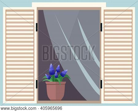 Flowerpot On The Windowsill. Large Window With Curtains And Open Shutters Vector Illustration. Windo