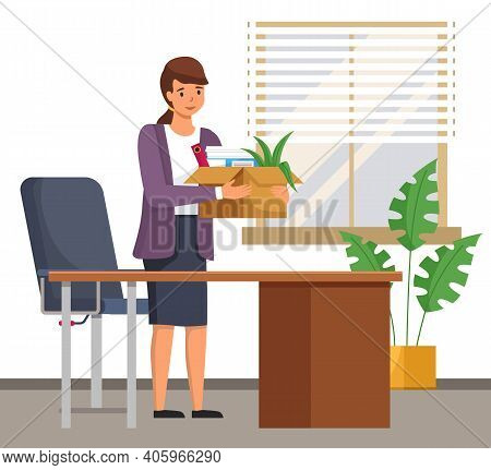 Happy Successful Young Business Woman Holds A Box With Her Things And Going Into New Office. Dismiss