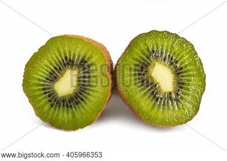 A Sliced Kiwifruit Isolated On White Background