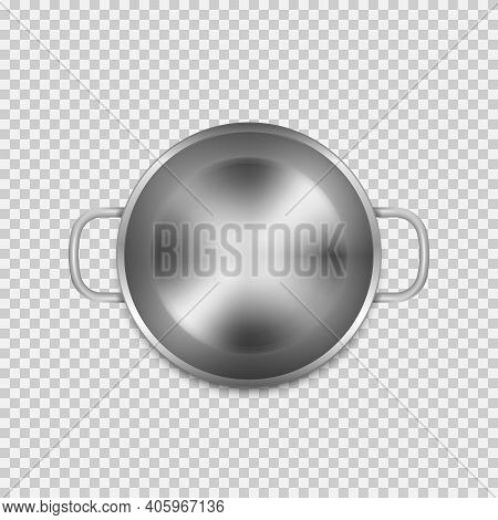 Stainless Steel Cooking Pot Isolated On Transparent Background.