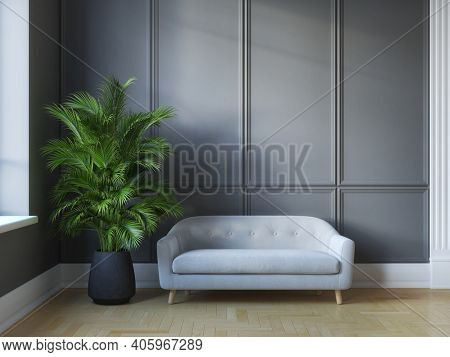 Classic modern interior room with sofa and dark walls with decorative elements, 3D illustration, rendering.