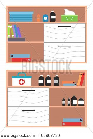Interior Equipment Of A Clinic Room White Cupboard With Shelves With Books And Medicines. Set Of Fur