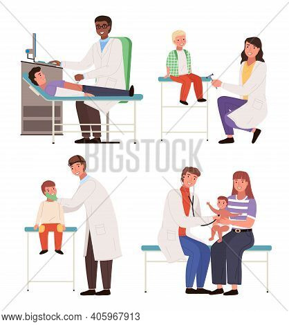 Set Of Illustrations On The Topic Of Treating Sick Children. Doctor Works With Patients. Physician H