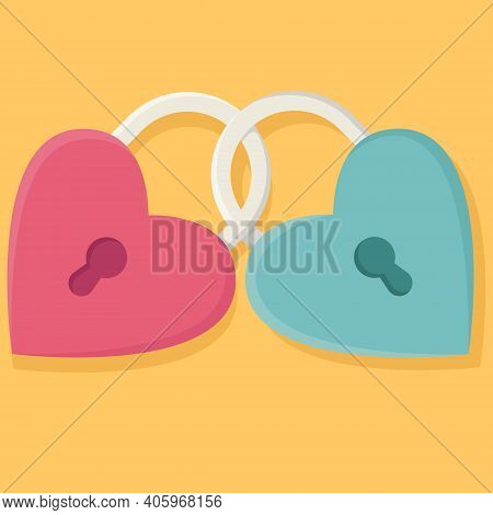 Two Hearts With A Keyhole. Romantic Concept. Love Symbol