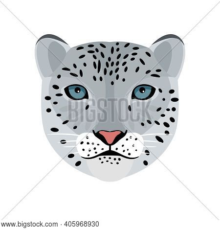 Snow Leopard. Cartoon Front Face Of Wildcat, Elements Of Hunting Trophy, Vector Illustration Portrai
