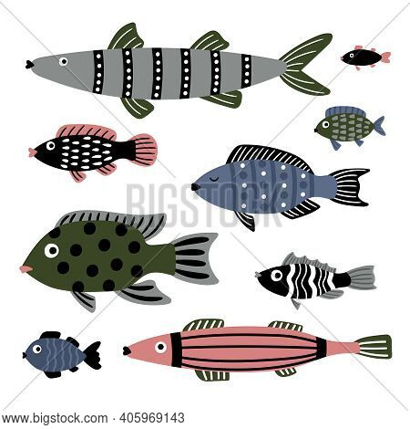 Saltwater Fishes. Cartoon Characters Of Sea, Color Stylish Underwater Animals, Vector Illustration S