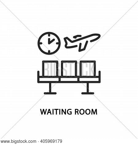 Waiting Room Flat Line Icon. Vector Illustration Row Of Chairs, Clock And Flying Plane. Flight Delay