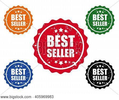 Bestseller Label Set White Background, Vector Illustration