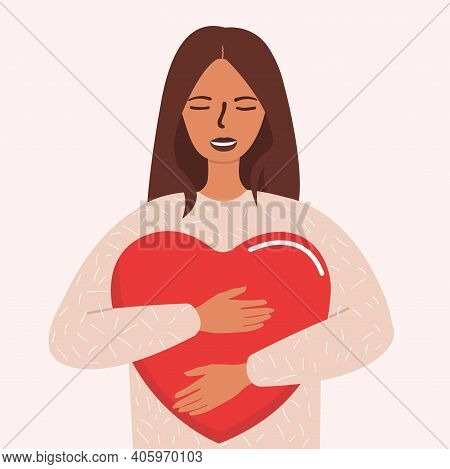 Flat Vector Cartoon Illustration Of A Woman Hugging A Big Red Heart With Care And Love. The Concept