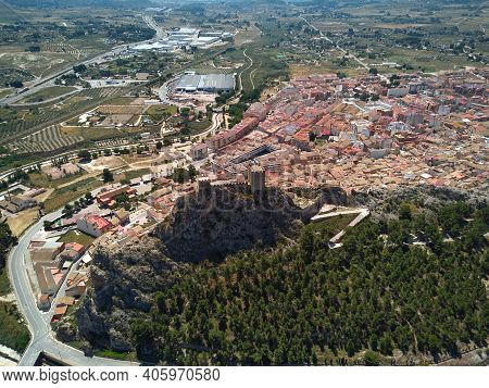 Aerial Image Drone Point Of View Castle On Rocky Mountain Top, Sax Townscape Surrounding And Country