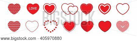 Set Of Different Hearts On Valentine's Day. Hearts Icon Collection. Collection Of Heart Illustration