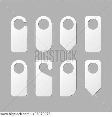 Door Handle Hangers. Set Of Blank Door Hanger. White Empty Hotel Room Hangers Hangers Vector Templat