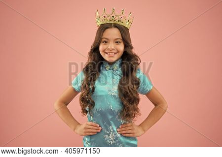 Winter Carnival. Masquerade. Kid Wear Golden Crown Symbol Of Princess. Every Girl Dreaming To Become