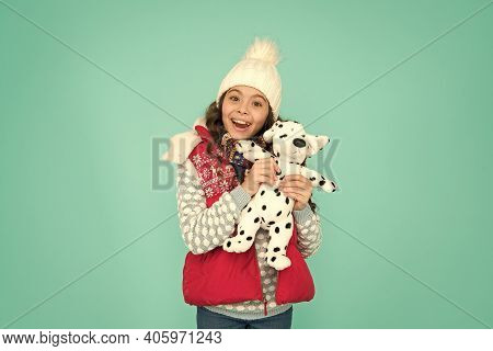 Happy Child Hold Soft Toy. Little Girl Smile With Toy Dog. Dreaming About Real Dog. Kids Toy Shop Or
