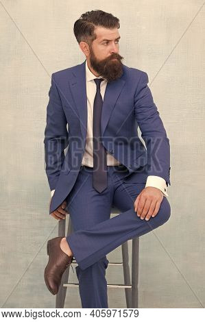 Classy But Modern. Businessman Sit On Chair. Elegant Businessman Or Entrepreneur. Businessman Wear F