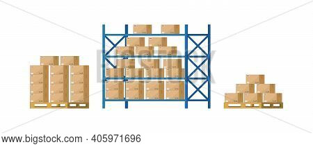 Warehouse Inventory With Rack, Pallet And Boxes. Shelf For Storage Of Cargo. Stock Of Wholesale Good