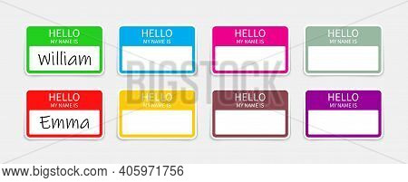 Name Badge. Tag Of Hello. Sticker Or Card With My Nametag. Label With Hi. Paper Card For Identificat