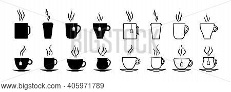 Cup Icon For Coffee And Tea. Cup Silhouette For Cafe. Hot Espresso, Latte, Cappuccino In Mug. Graphi