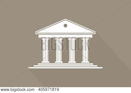 Greek Temple. Icon Of Roman Parthenon. Ancient Building With Columns. Greece Architecture With Pilla