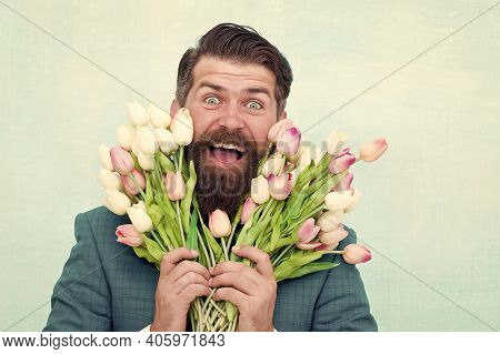 Spring In My Head. Flower Surprise For Her. Bearded Man In Formal Suit Greeting. Happy Valentines Da