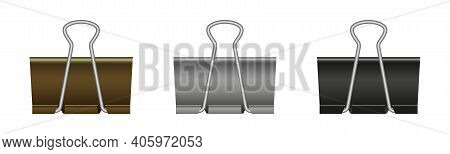 Paper Binder Clip. Black Metal Clamp For Office And School. Paperclips Isolated On White Background.
