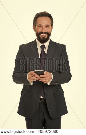 Sms Marketing. Happy Boss Text Sms Isolated On White. Texting Sms Message Via Smartphone. Sms Messag