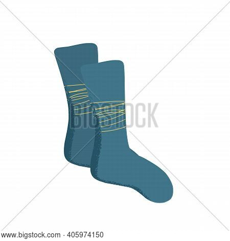 Warm Socks Pair Isolated On White Background. Casual Footwears. Fashion Apparels Elements. Vector Il