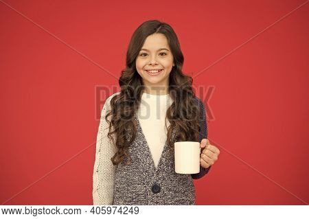 Good Morning. Drink Enough Water. Girl Kid Hold Mug Red Background. Child Hold Mug. Drinking Tea Jui
