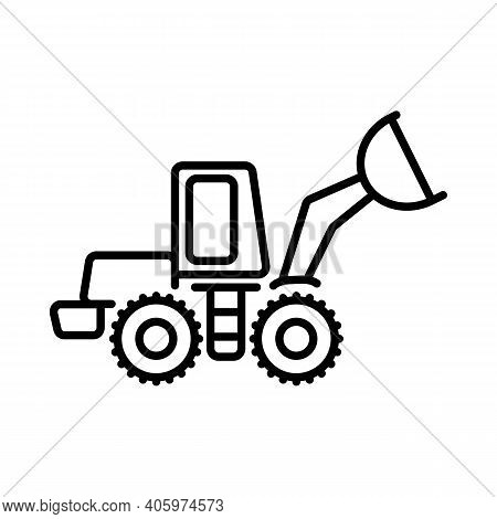 Simple Vector Icon On The Theme Of Snow Removal. The Front Loader Icon Is Presented