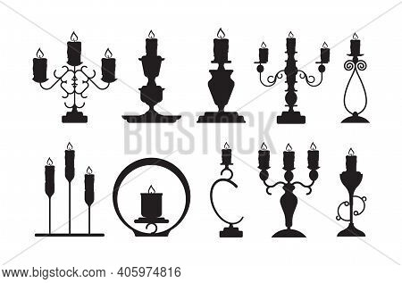 Candlestick Silhouettes. Black Shapes Of Candelabrum With Burning Flame Vector Candle Holders Set. C