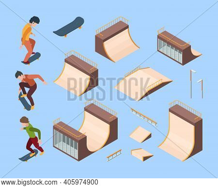Sport Skate Park. Outdoor Activities Urban Teenagers Skaters In Action Poses Jumping On Trampoline A
