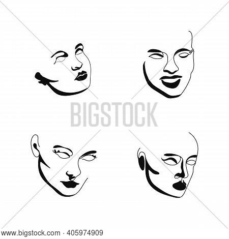 Elegant Faces Silhouette Collections. One Line Drawing Faces. Fashion Concept, Male And Female Beaut