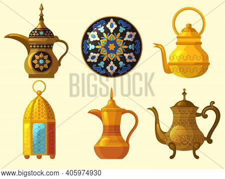 Arabic Heritage. East Cultural Native Traditional Objects Various Pottery Arab Emirates Decoration V