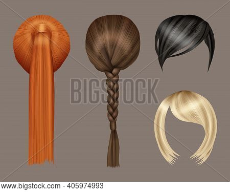 Women Hairstyle. Model Beauty Curly Glamorous Long Hairs Colored Type Vector Realistic Set. Hairstyl