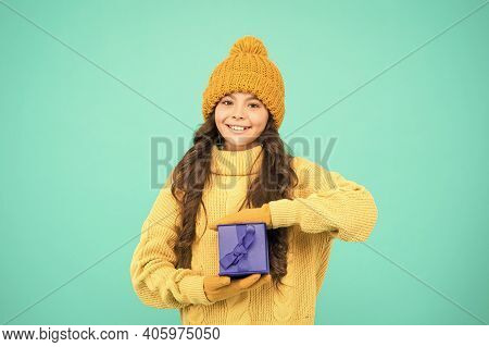 Small Cute Girl Received Holiday Gift. Enjoy Receiving Presents. Christmas Gifts For Kids. Kid Littl