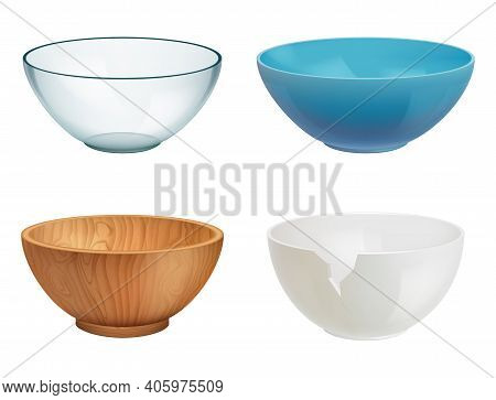 Bowl Realistic. White Ceramic Wooden Glass Cooking Dishes For Food Elegant Transparent Containers De