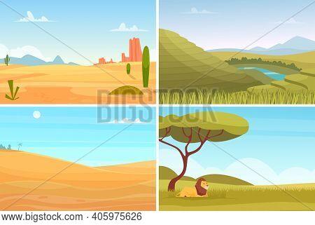 Nature Landscape. Desert Safari Park, Agriculture Plantation. Eco Tourism, Travel Or Adventures Vect