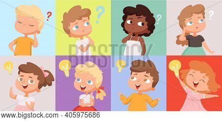 Thinking Kids. Cute Children Have Good Idea. Find Trouble Solution Teens Vector Avatars. Imagination